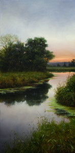 "SOLD ""Southern Bank – Little Grove,"" by Renato Muccillo 15 x 30 – oil $3520 Custom framed"