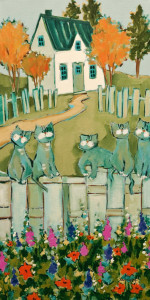 "SOLD ""Souvenir of the Cats,"" by Claudette Castonguay 12 x 24 – acrylic $700 Unframed"
