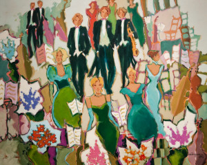 "SOLD ""Special Musical Event,"" by Claudette Castonguay 24 x 30 – acrylic $1400 Unframed"