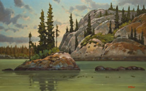 """Stagg Lake Passage,"" by Graeme Shaw 30 x 48 - oil $4225 (artwork continues onto edges of wide canvas wrap)"