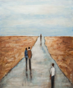 "SOLD ""Stay on the Path,"" by Bev Binfet 20 x 24 – acrylic $970 Unframed"