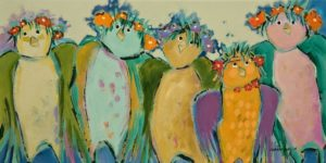 "SOLD ""The Summer's Birds,"" by Claudette Castonguay 10 x 20 – acrylic $500 Unframed"