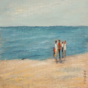 "SOLD ""Time at the Beach,"" by Bev Binfet 12 x 12 – oil $520 Unframed"