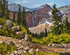 """The Trail to Crypt Lake,"" by Graeme Shaw 22 x 28 - oil $2270 Unframed"
