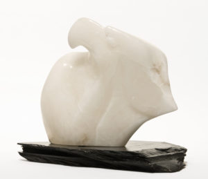 "SOLD ""Wings of Grace,"" by Marilyn Armitage 11"" (H) – Translucent alabaster on slate base $900"