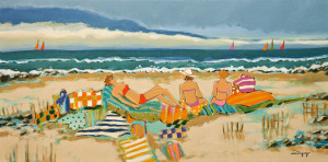 "SOLD ""With Friends on the Beach,"" by Claudette Castonguay 12 x 24 – acrylic $700 Unframed"