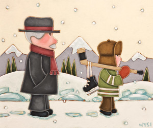 """SOLD """"With My Gramps,"""" by Peter Wyse 10 x 12 – acrylic $740 (unframed panel with 1 1/2"""" edging)"""