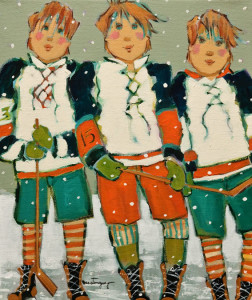 "SOLD ""The Young Hockey Players,"" by Claudette Castonguay 10 x 12 – acrylic $370 Unframed $475 Custom framed"