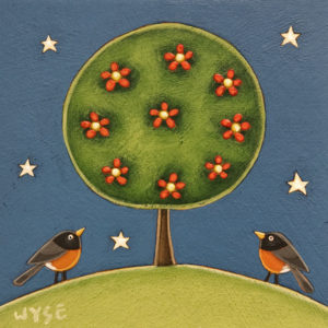 """SOLD """"Home V,"""" by Peter Wyse 6 x 6 – acrylic $400 (unframed panel with 1 1/2"""" edging)"""