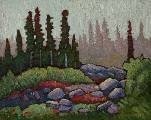 """Misty Alpine Morning,"" by Nicholas Bott 8 x 10 - oil $1090 Unframed"