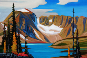 "SOLD ""October - Mountain Lake,"" by Nicholas Bott 24 x 36 - oil $4170 Unframed"