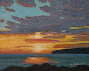 """Sunset - White Rock,"" by Nicholas Bott 8 x 10 - oil $1090 Unframed"