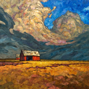 "SOLD ""Alberta Granaries No. 2,"" by Phil Buytendorp 24 x 24 – oil $1870 Unframed"