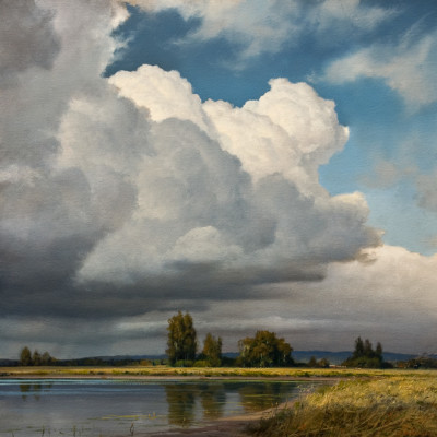 "SOLD ""Approaching Storm"" 18 x 18 - oil $3600 in custom show frame"