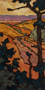 "SOLD ""As the Trail Goes,"" by Phil Buytendorp 6 x 12 – oil $560 Unframed $735 Custom framed"