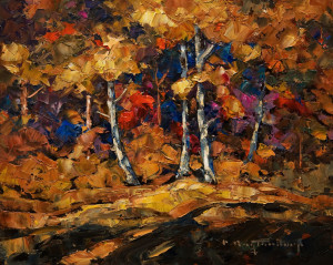 "SOLD ""Autumn Collage"" 8 x 10 – oil $570 Unframed $765 Custom framed"
