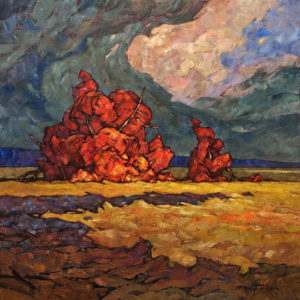 "SOLD ""Burning Bush,"" by Phil Buytendorp 24 x 24 – oil $1870 Unframed"
