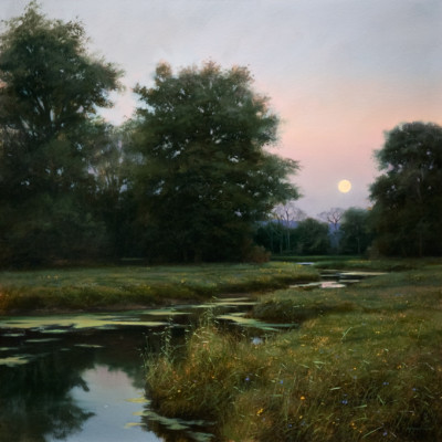 "SOLD ""Dusk Over Neaves Road Canal"" 24 x 24 - oil (2012) $4800 in custom frame"
