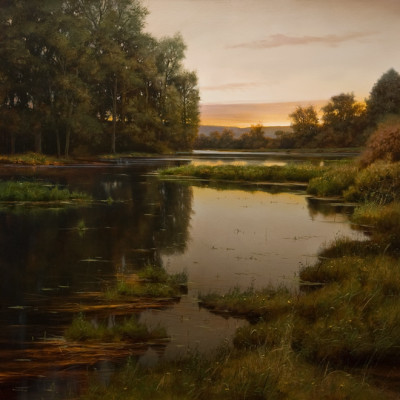 "SOLD ""High Water of Spring"" 36 x 36 - oil $8500 in custom show frame"