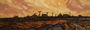 "SOLD ""Power Poles"" 8 x 24 – oil $1100 Unframed $1250 Custom framed"