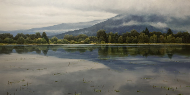 "SOLD ""Stillness of May"" 30 x 60 - oil $10,650 in custom show frame"