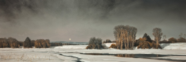 "SOLD ""Thawing of the Lowlands"" 10 x 30 - oil $3360 in custom show frame"