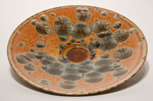 "SOLD Wall-hang bowl (BB-3477) by Bill Boyd crystalline-glaze ceramic – 15 1/2"" $500"