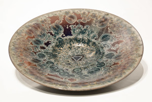 "SOLD Wall-hang bowl (BB-3595) by Bill Boyd crystalline-glaze ceramic – 21"" $1500"