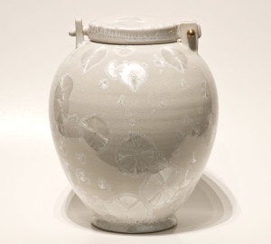 "SOLD Lidded vessel (BB-3688) by Bill Boyd crystalline-glaze ceramic – 9"" (H) x 7"" (W) $600"