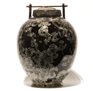 "SOLD Lidded vessel (BB-3690) by Bill Boyd crystalline-glaze ceramic – 10"" (H) x 7 1/2"" (W) $650"