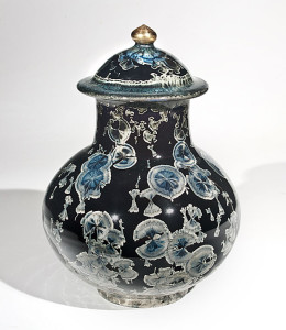 "SOLD Lidded vessel (BB-3772) by Bill Boyd crystalline-glaze ceramic – 11"" (H) x 7 1/2"" (W) $550"
