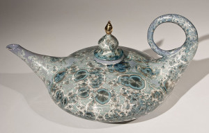 "SOLD Aladdin Teapot (BB-3774) by Bill Boyd crystalline-glaze ceramic – 7 1/2"" (H) x 11"" (W) x 16""(L) $750"