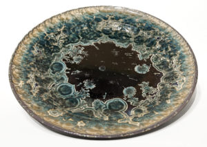 "SOLD Wall-hang bowl (BB-4057) by Bill Boyd crystalline-glaze ceramic – 20 1/2"" (W) $1100"