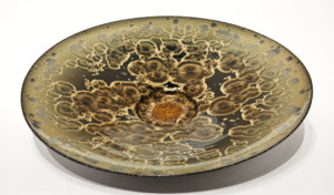 "SOLD Wall-hang bowl (BB-4059) by Bill Boyd crystalline-glaze ceramic – 20"" (W) $950"