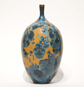 "SOLD Bottle (BB-4066) by Bill Boyd crystalline-glaze ceramic – 8"" (H) x 4 1/2"" (W) $250"
