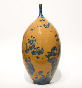 "SOLD Bottle (BB-4067) by Bill Boyd crystalline-glaze ceramic - 13 1/2"" (H) x 6 1/2"" (W) $550"