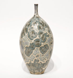 "SOLD Bottle (BB-4068) by Bill Boyd crystalline-glaze ceramic – 9 1/2"" (H) x 4 1/2"" (W) $275"