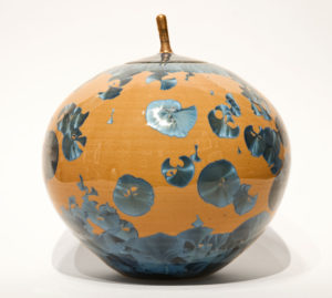 "SOLD Lidded vessel (BB-4072) by Bill Boyd crystalline-glaze ceramic – 7"" (H) x 7 1/2"" (W) $425"