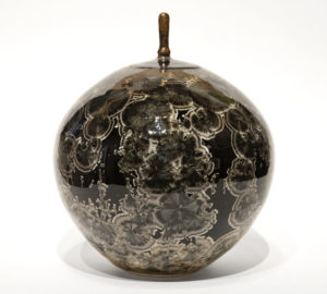 "SOLD Lidded vessel (BB-4073) by Bill Boyd crystalline-glaze ceramic – 8"" (H) x 8"" (W) $450"