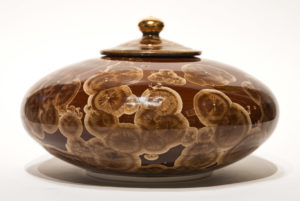 "SOLD Lidded vessel (BB-4075) by Bill Boyd crystalline-glaze ceramic – 6 1/2"" (H) x 10"" (W) $550"