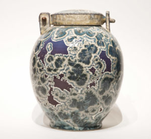"SOLD Lidded vessel (BB-4077) by Bill Boyd crystalline-glaze ceramic – 9"" (H) x 7"" (W) $550"