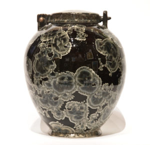 "SOLD Lidded vessel (BB-4078) by Bill Boyd crystalline-glaze ceramic – 9"" (H) x 7"" (W) $575"