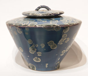 "Lidded vessel (BB-4168) by Bill Boyd crystalline-glaze ceramic - 8 1/2"" (H) x 9 1/2"" (W) $675"
