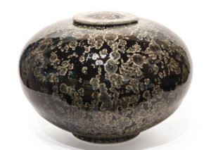 "SOLD Lidded vessel (BB-4220) by Bill Boyd crystalline-glaze ceramic - 12"" (H) x 16"" (W) $1800"