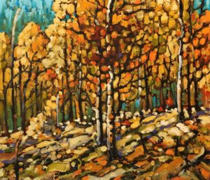 """Autumn Aspens,"" by Rod Charlesworth 12 x 14 - oil $1275 Unframed"
