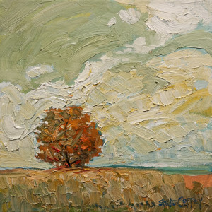 "SOLD ""Autumn Tree,"" by Steve Coffey 10 x 10 – oil $800 Unframed $1050 Custom framed"