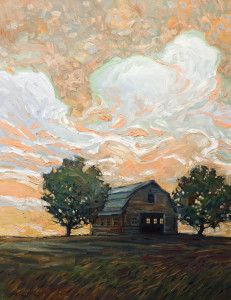 "SOLD ""The Barn,"" by Steve Coffey 20 x 26 – oil $1840 Unframed"