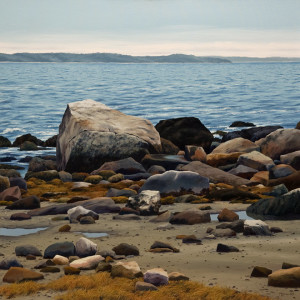"SOLD ""Blue Granite,"" by Merv Brandel 36 x 36 – oil $7500 (thick canvas wrap without frame)"