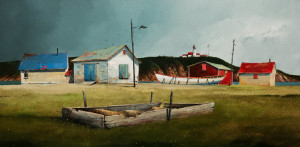 "SOLD ""Boatbuilders Shops,"" by Mark Fletcher 15 x 30 – acrylic $1925 Unframed"