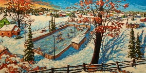 """SOLD """"The Breakaway,"""" by Rod Charlesworth 33 x 66 – oil $6065 Unframed"""